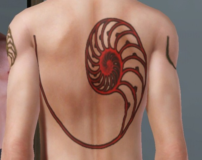 eye catching shell tattoo on back With red ink For Man And Woman