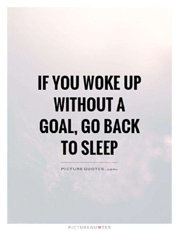 f you woke up without a goal go back to sleep