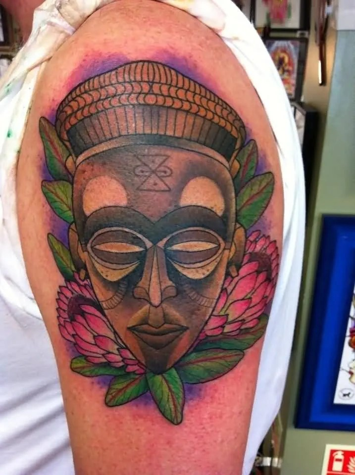 Fabulous Colorful Ink Old Mask Tatto Design For Boy