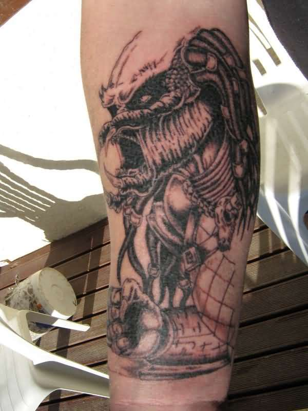 famous red and gray color ink Tattoo Of Predator Showing Punch for boys