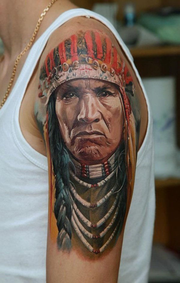 Fantastic Native American Tattoo On Arm With Colourful Ink For Man & Woman