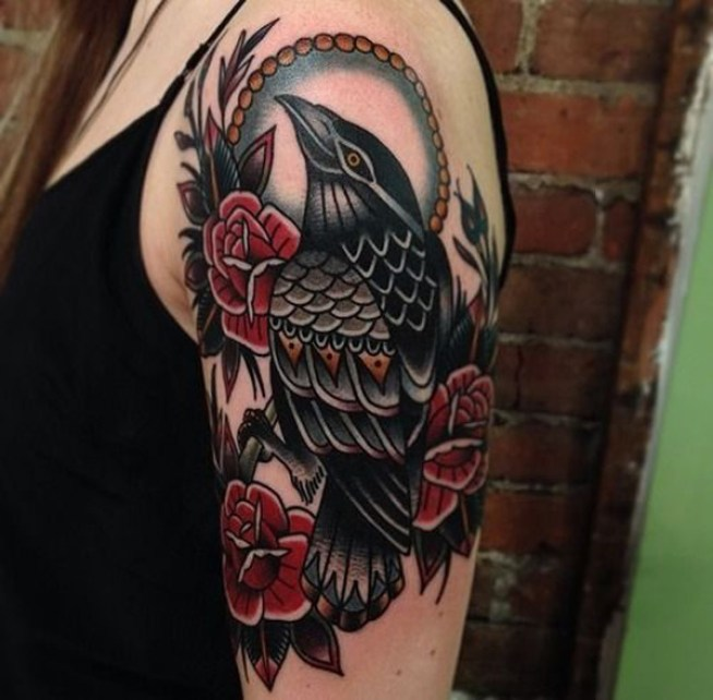 fantastic Raven and Rose Tattoo on Sleeve half sleeve with Black ink For Man And Woman