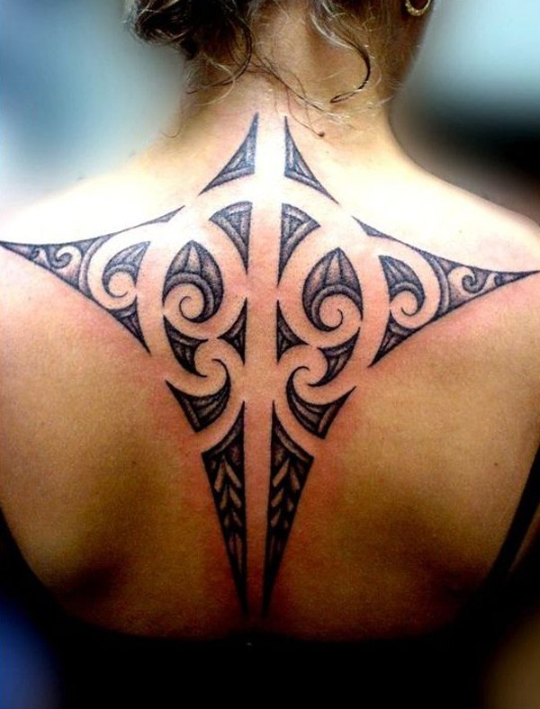 Fantastic Ray Tattoo On Back With Black Ink For Man And Woman Polynesian Tattoo