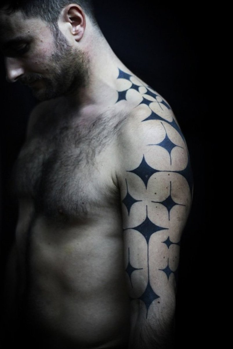 Fantastic Sleeve Pattern Tattoo For Men On Arm With Black Ink For Man & Woman