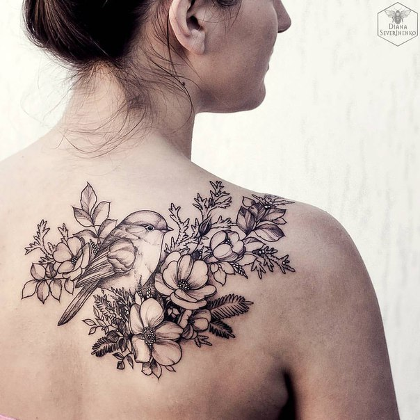 fantastic bird and flower back tattoo With black ink For Man And Woma