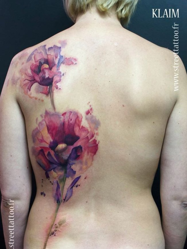 fantastic watercolor poppy on back With colourful ink For Man And Woman