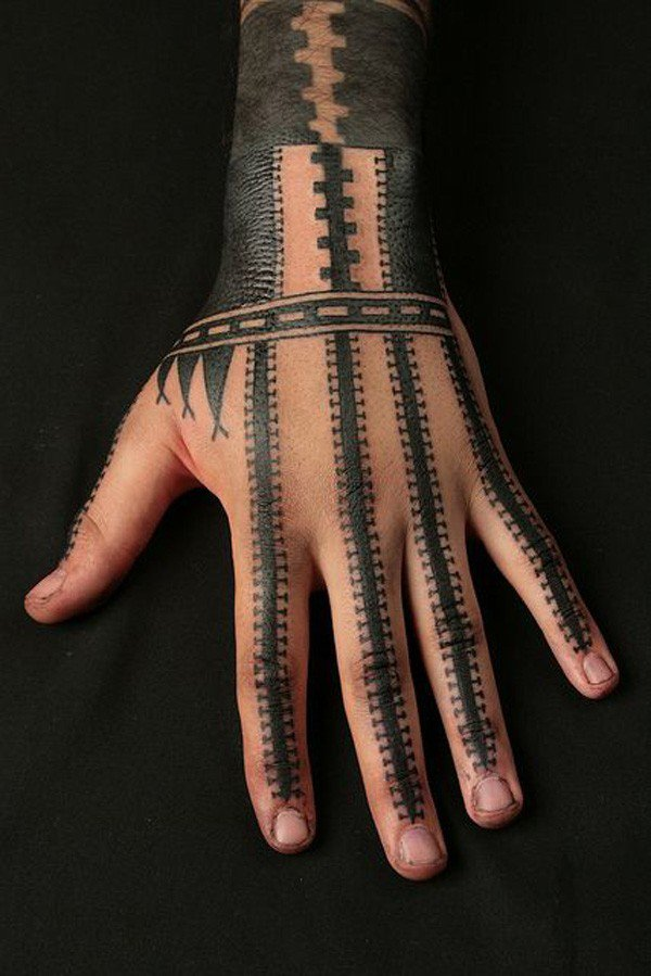 Fascinating Samoan Inspired Hand Tatau With Black Ink For Man Woman