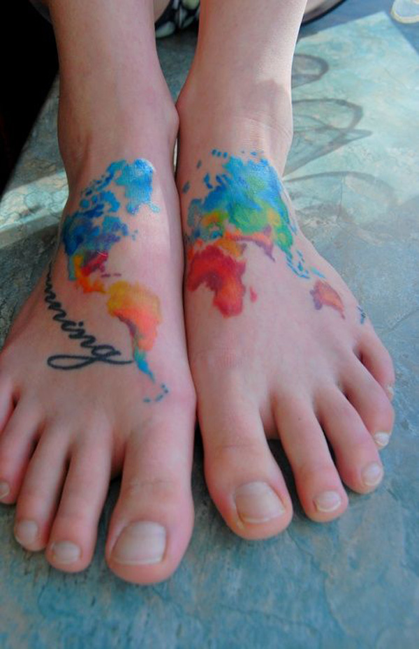 Fascinating Watercolor Foot Map Tattoo With Colourful Ink On Foot For Man Woman