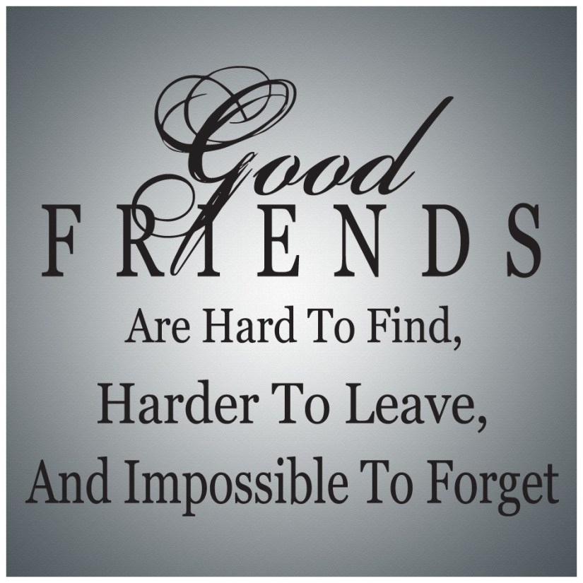 good friends are hard to find, harder to leave, and impossible to forget.