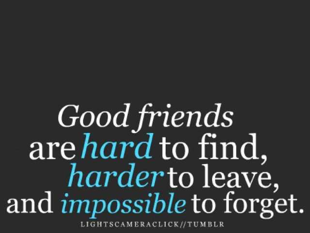 good friends are hard to find harder to leave and impossible to forget