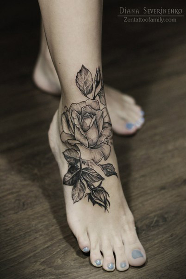 Great Flower Tattoos On Leg With Black Ink For Women