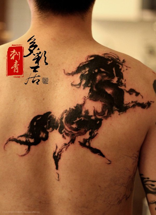 Great Ink Horse On Back With Black Ink For Women And Man