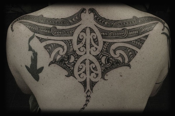 Great Manta Ray Tattoo On Back With Black Ink For Man And Woman (2)