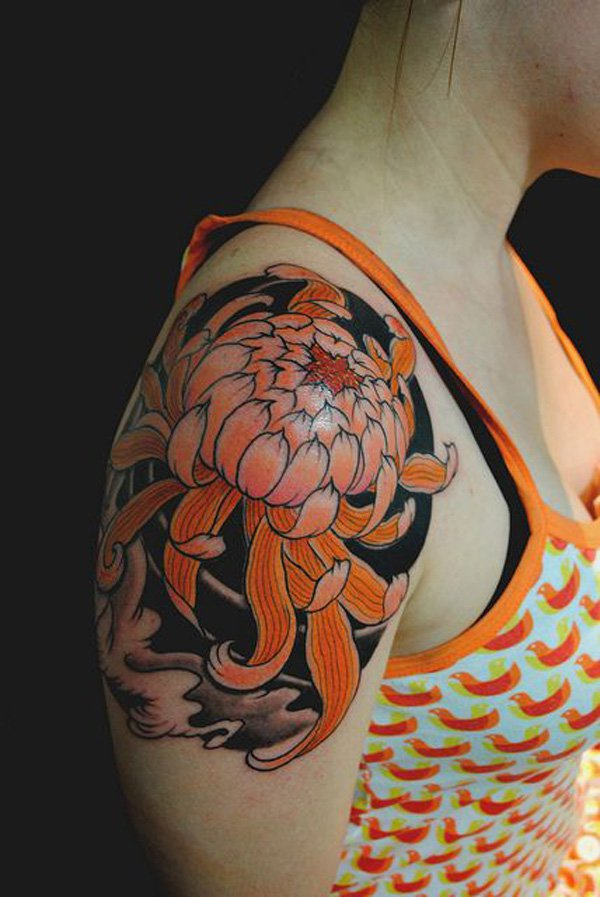great chrysanthemum shoulder tattoo on arm With colourful ink For Man And Woma