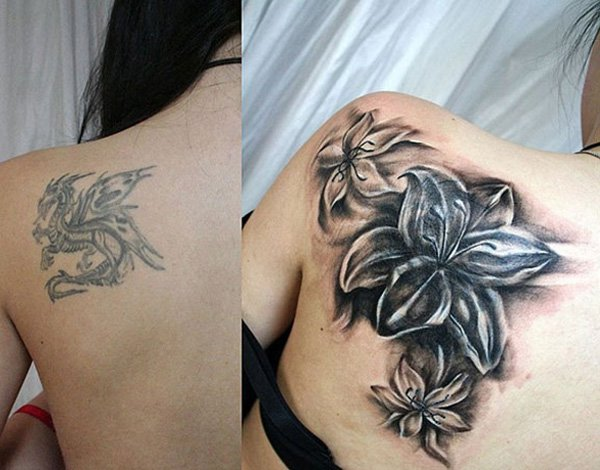 Great Cover Up Flowers On Back With Black Ink For Man And Woman