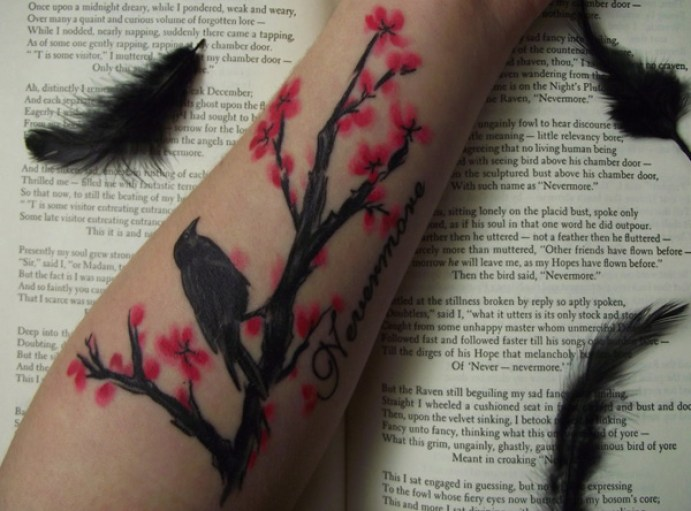 great quoth the raven on wrist with Black ink For Man And Woman