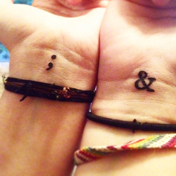 Great Semicolon Tattoo With Black Ink For Man Woman