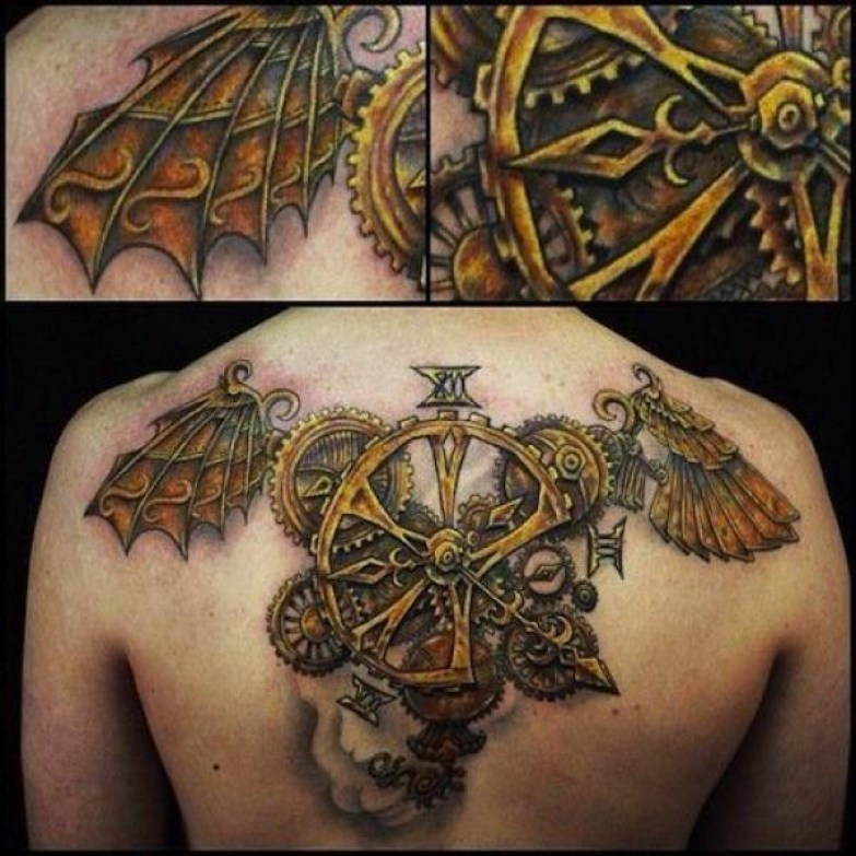 Great Steampunk Angel Wings On Back With Colorful Ink For Man And Woman