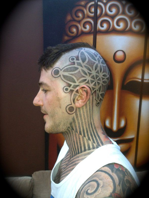 great tattoo on the head With Black ink For Man And Woman