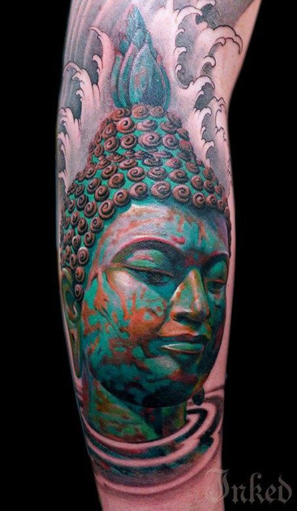 Greatest 3d Buddha Portrait Sleeve Tattoo With Colourful Ink For Woman Man