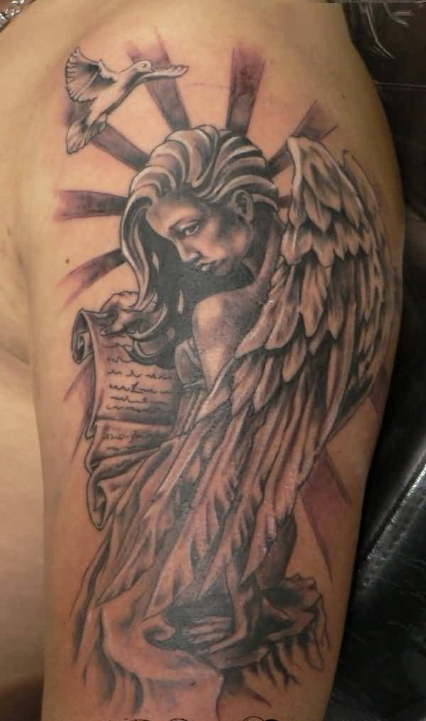 horrible red and gray color ink angel tattoo on boy sleeve for boys made by expert artist