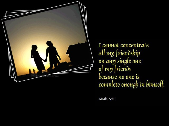i can not concentrate all my friendship on any single one of my friends because no one is complete enough in himself(anais nin)
