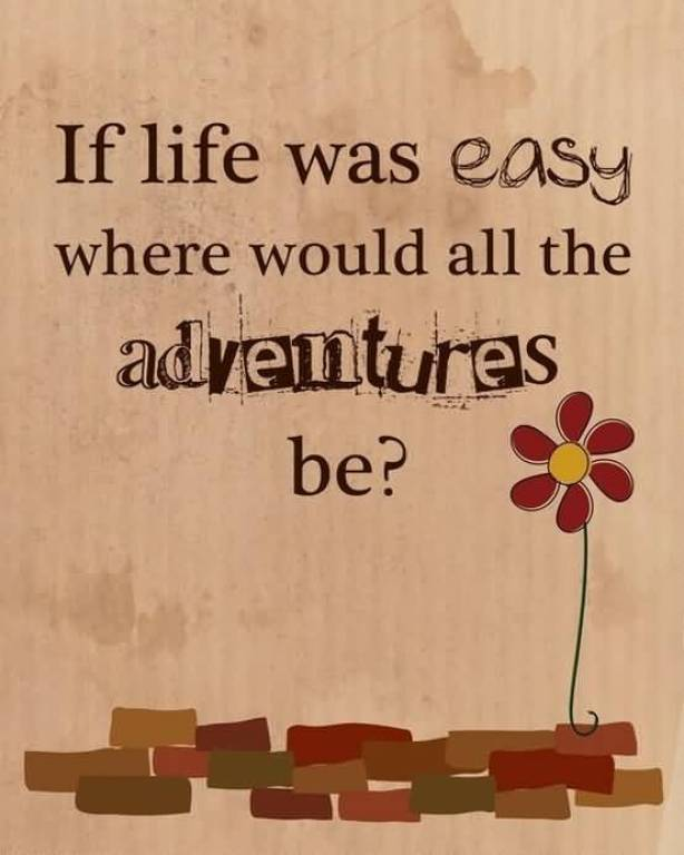 If Life Was Easy Where Would All The Advntures Be
