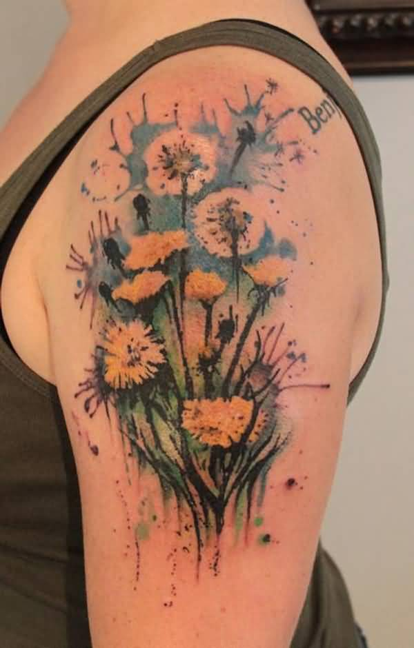 incredible Watercolor Dandelion on arm With colourful ink For Man And Woman