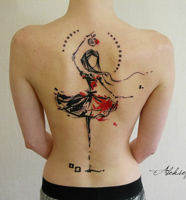incredible abstract dancing girl tattoo on back With colourful ink For Man And Woma