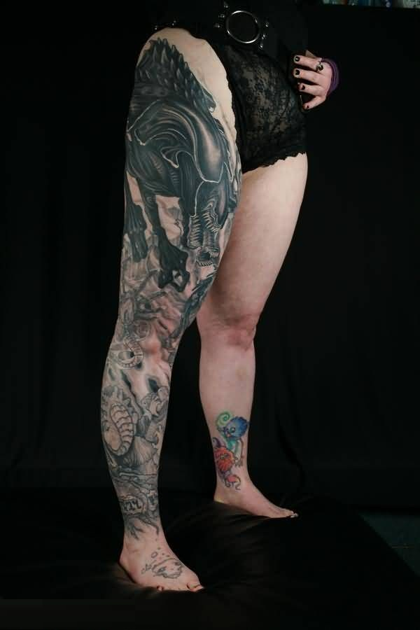 Incredible Gray Color Ink Leg Tattoo Of Scary Predator