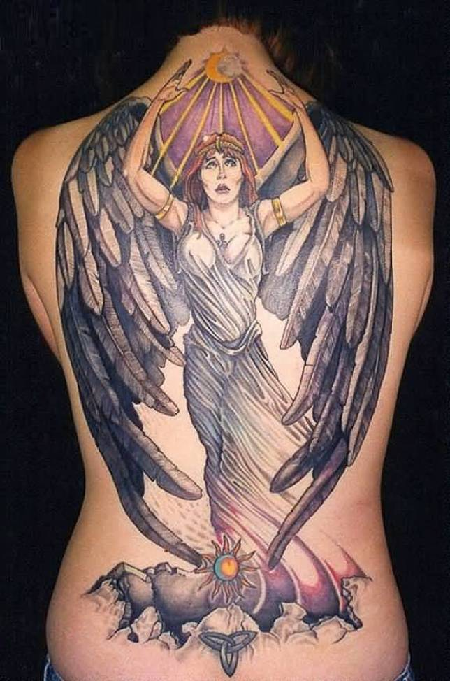 innovative gray and yellow color ink Angel Tattoos on girl's full back made by expert
