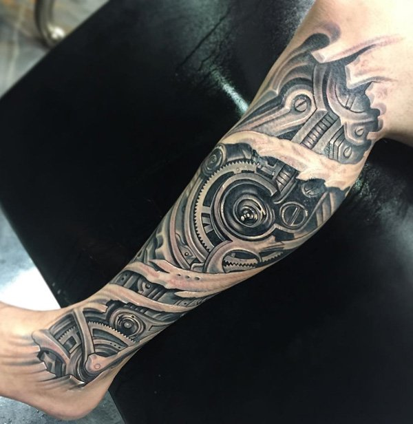 Inspirational 3d Calf Tattoo With Black Ink For Man Woman