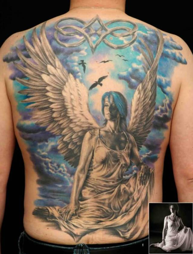 inspiring blue and gray color ink angel tattoo on boy full back cover for boys made by expert