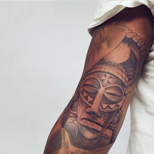 Inspiring Gray Color Ink African Mask Tattoo On Arm