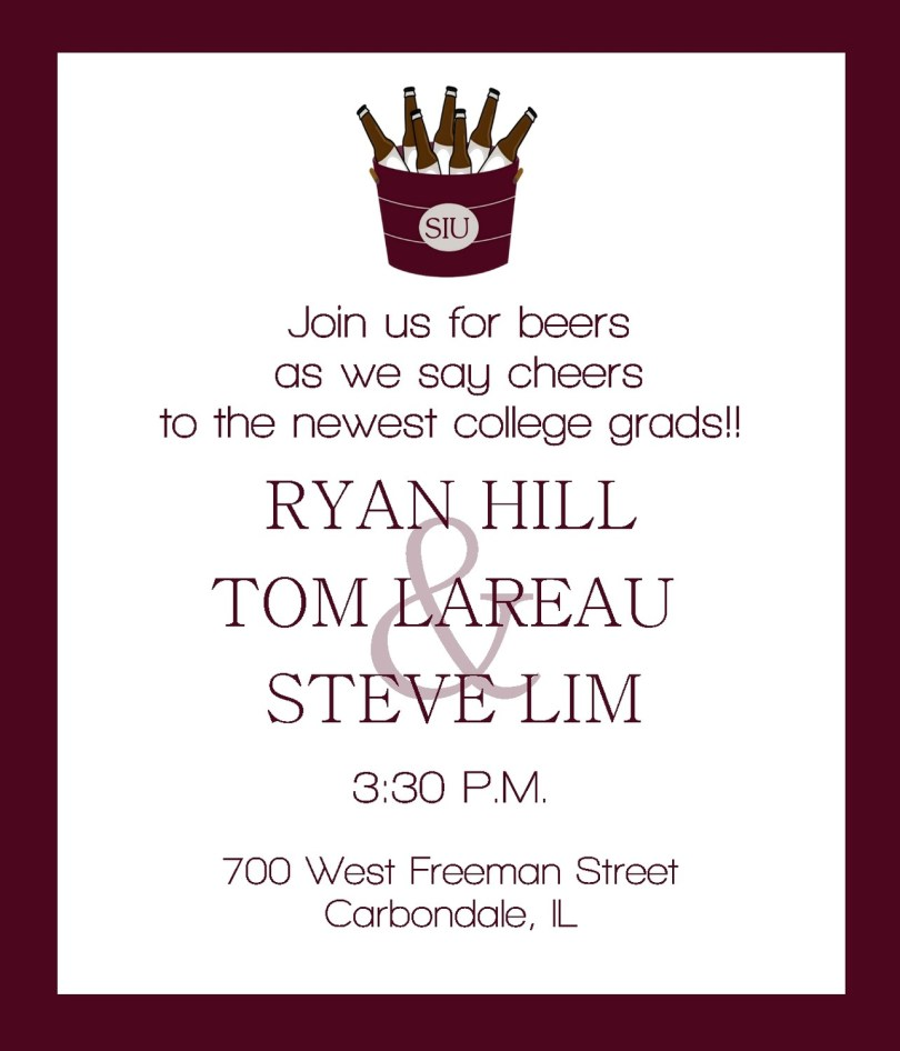 join us for beers as we say cheers to the newest college grads ryan hill tom lareau steve lim