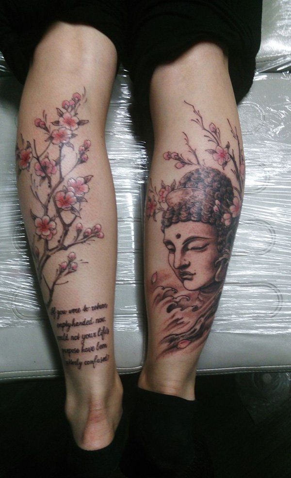Latest Buddha And Cherry Blossoms Legs Tattoo With Colourful Ink For Man Woman