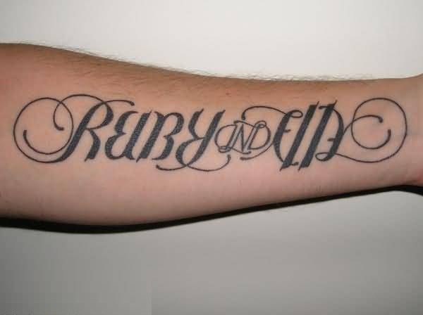 latest gray color ink another name ambigram tattoo for boys