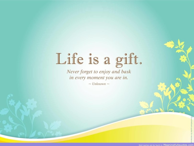 Life Is A Gift Never Forget To Enjoy And Bask In Every Moment You Are In Unknown