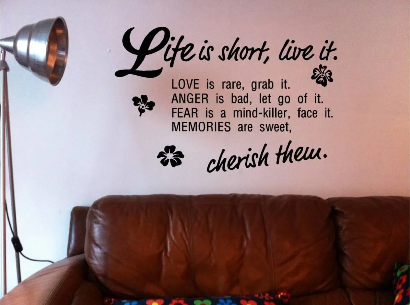 Life Is Short Live It Love Is Rare Grab It Anger Is Bad Let Go Of It Fear Is A Mind Killer Face It Memories Are Sweet Cherish Them