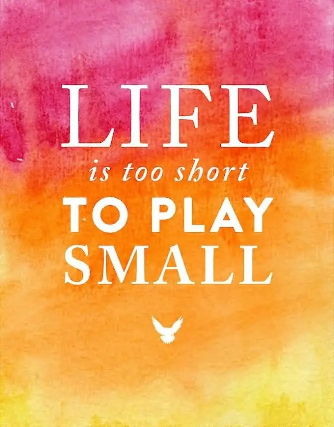 Life Is Too Short To Play Small