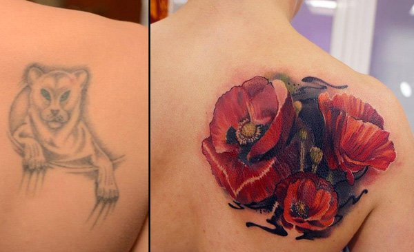 Love Able Flower Cover Up Tattoo By Andrey Grimmy On Back With Colourful Ink For Man And Woman