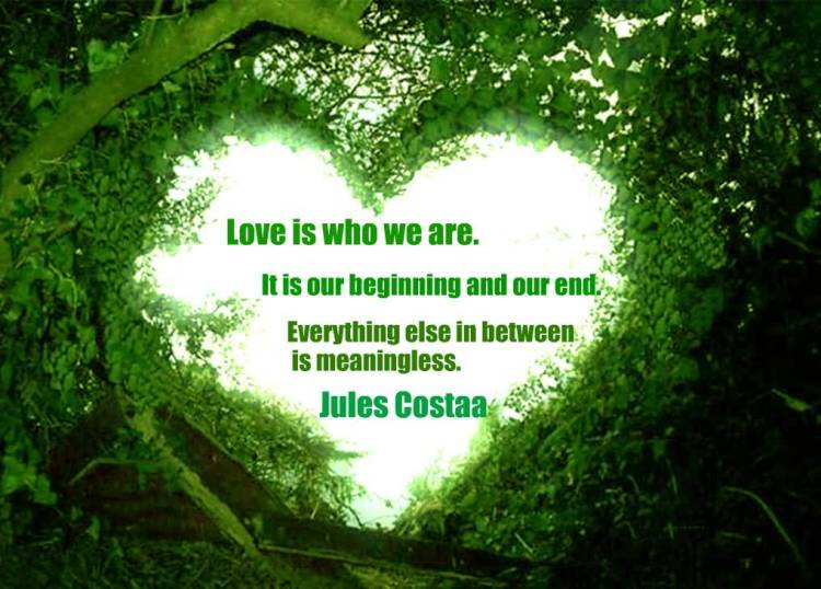 Love Is Who We Are It Is Our Beginnning And Our End Enerything Else In Between Is Meaningless Jules Costaa
