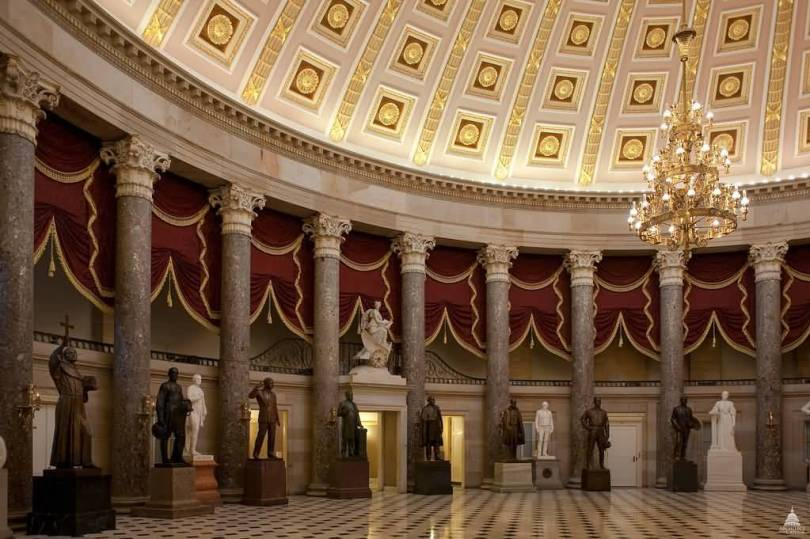 Lovely Statues Inside United States Capitol And Beautiful Columns