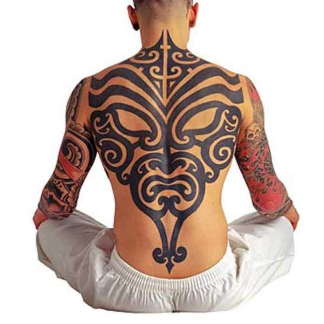 Lovely Red And Gray Color Ink Whole Back Cover Up With Lovely Mask Tatto For Man