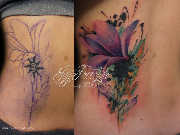 Lovely Tattoo Flower Cover Up By Tattoo J On Stomach With Colourful Ink For Man And Woman
