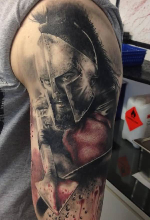 Lovely Warrior Tattoo On Arm With Black Ink For Women And Man
