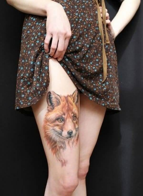 Lovely Yellow Color Ink African Fox Tattoo On Girl Leg For Girl