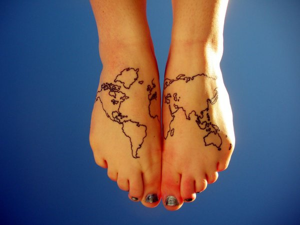Map Tattoo On Foot With Black Ink For Man Woman