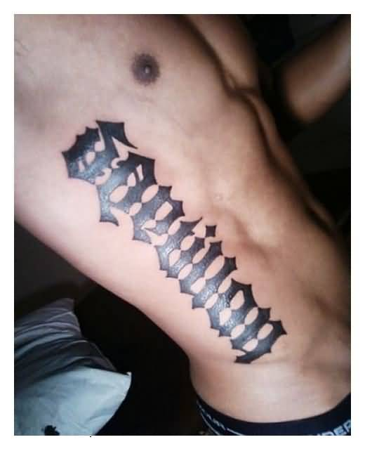 marvel black color ink ambigram tattoo on ribs for boys