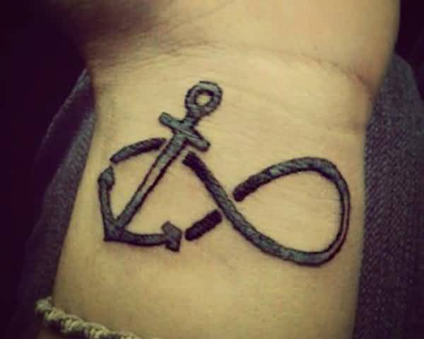 marvelous gray color ink anchor infinity symbol tattoo on arm for only boys